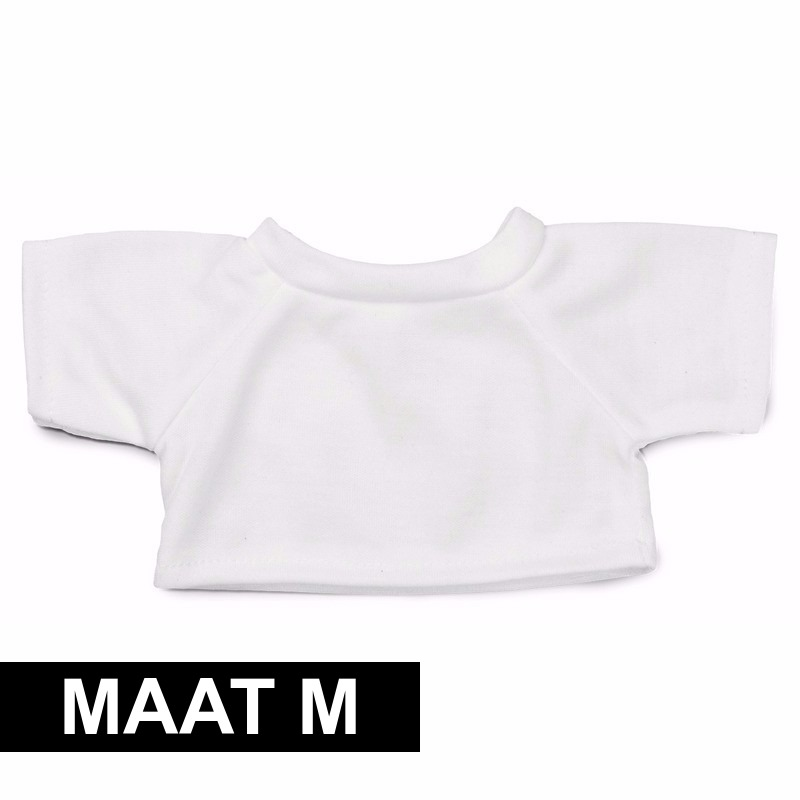 Wit shirt M voor Clothies knuffeldier 13 x 9 cm