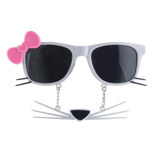 Witte poezen zonnebril met strikje en snor
