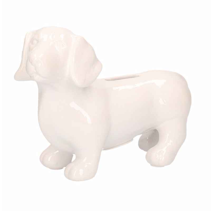 Witte teckel hond spaarpotten 20 cm