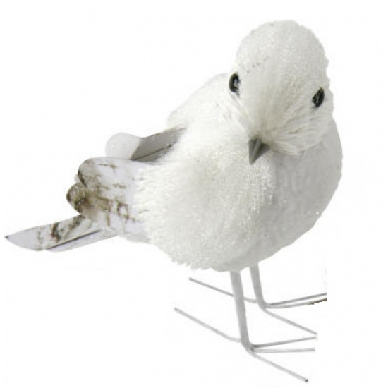 Witte vogel met glitters12 cm type 1