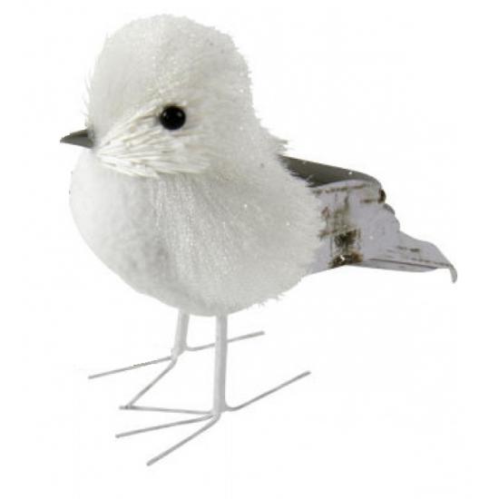 Witte vogel met glitters12 cm type 3