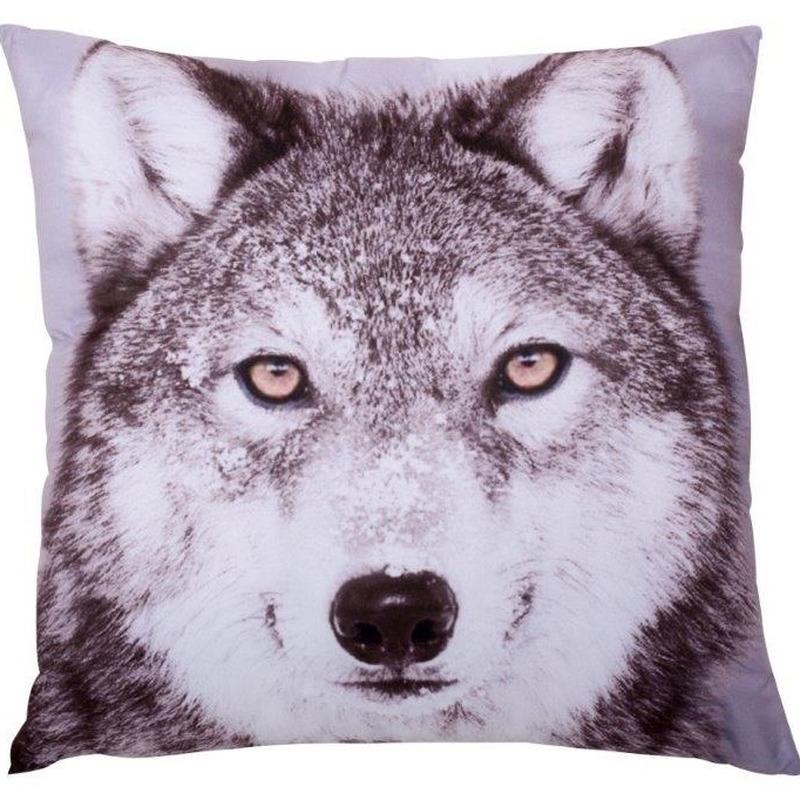 Woonkamer bank sierkussens wolven print 30 x 30 cm