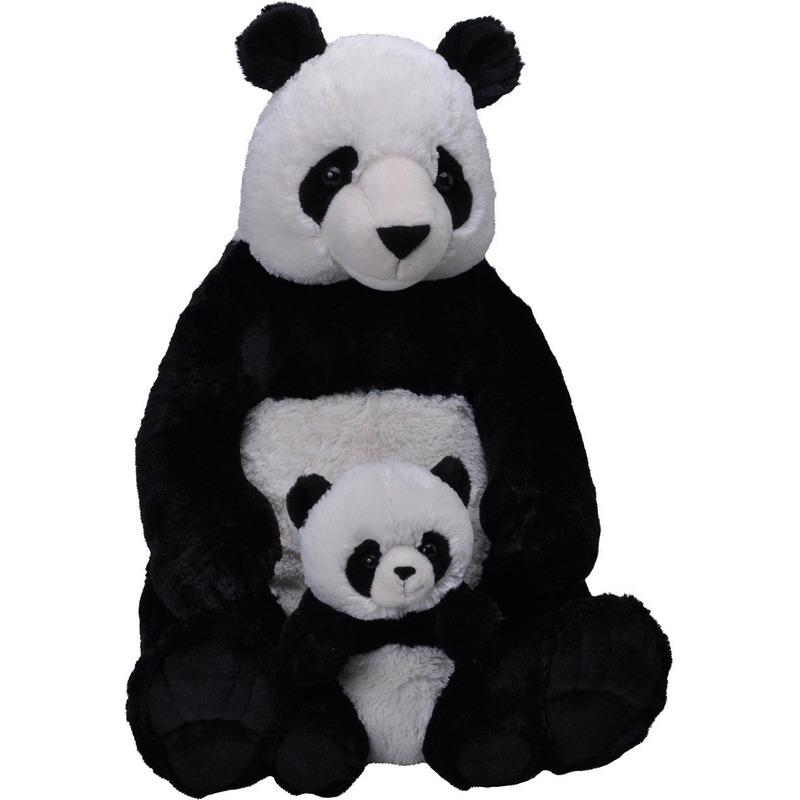 XL knuffel zwart/witte panda met baby 76 cm knuffeldieren