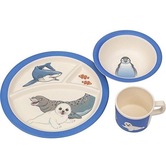 Zee dieren bamboe serviesset 3-delig bord/diep bord/beker voor kinderen