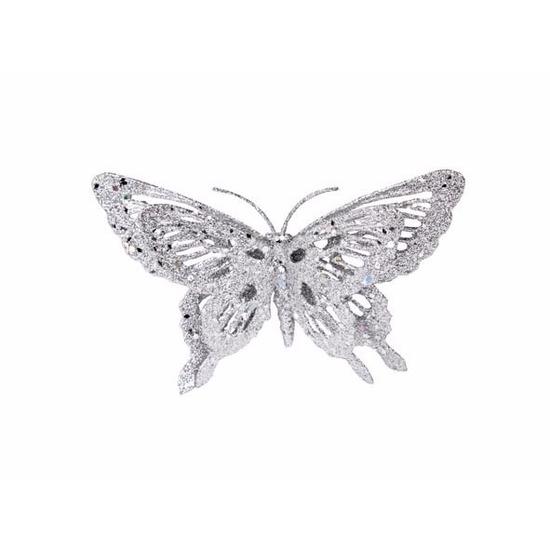 Zilveren deco vlinder met glitters 15 x 11 cm