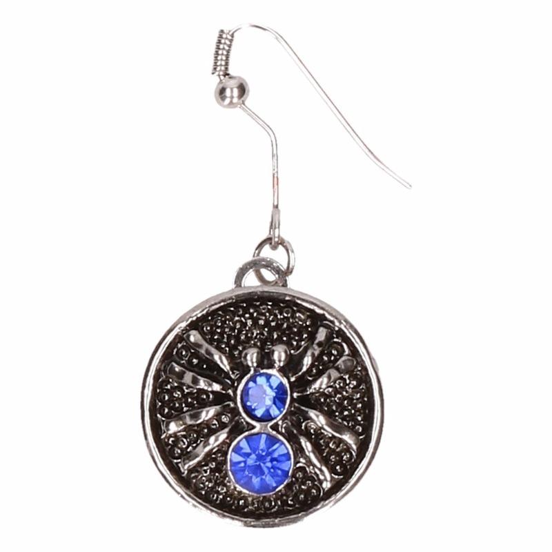 Afbeelding Zilveren metalen oorbellen met blauwe spin chunk door Animals Giftshop