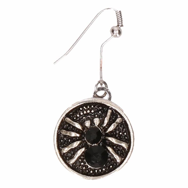Afbeelding Zilveren metalen oorbellen met zwarte spin chunk door Animals Giftshop