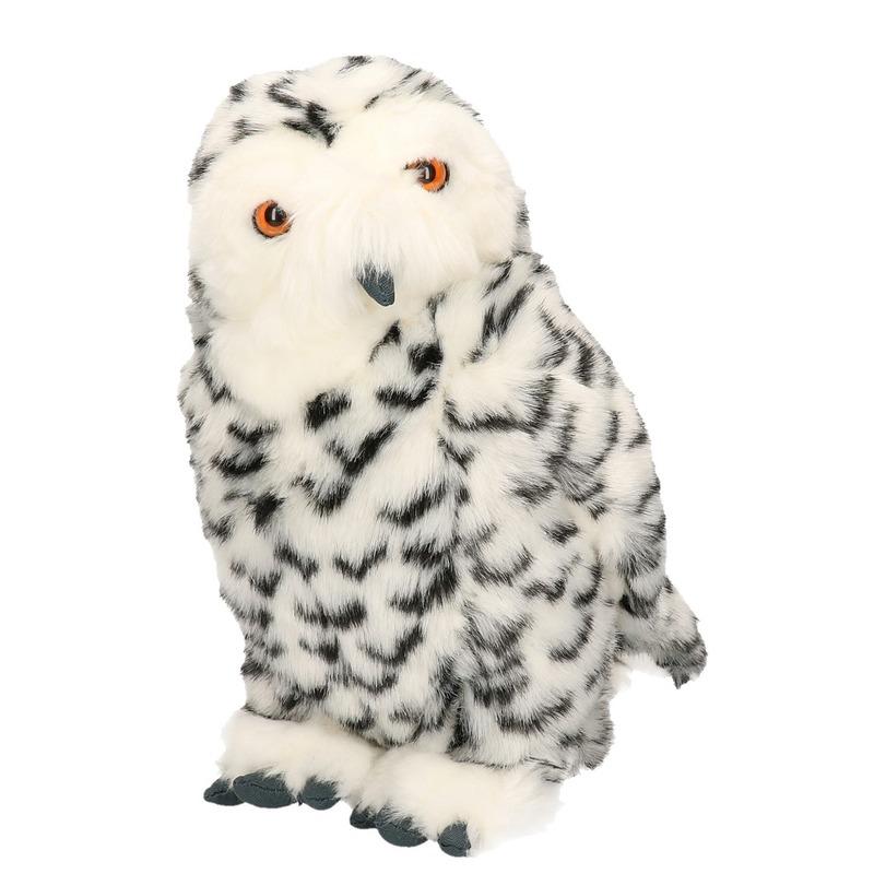 Zittende knuffel sneeuwuil 30 cm