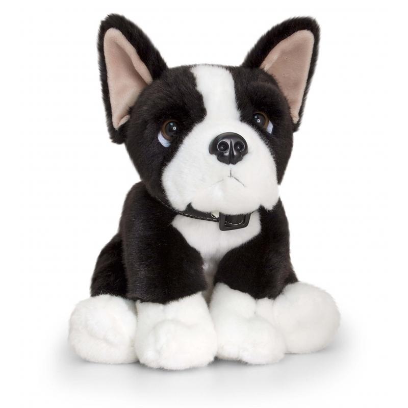 Zittende pluche Boston Terrier hond 35cm