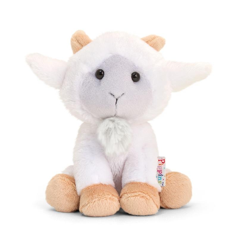 Zittende pluche geiten/bokken knuffels 14 cm wit