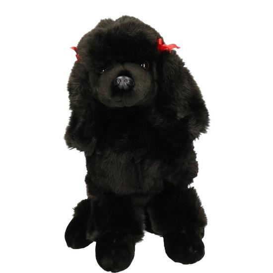 Zittende zwarte Poedel knuffel dier 30 cm