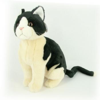 Zwart / witte kat knuffel 30 cm