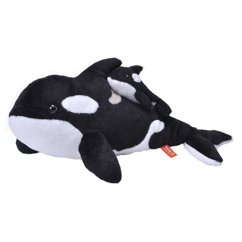Afbeelding Zwart/witte orka met baby 38 cm knuffeldieren door Animals Giftshop