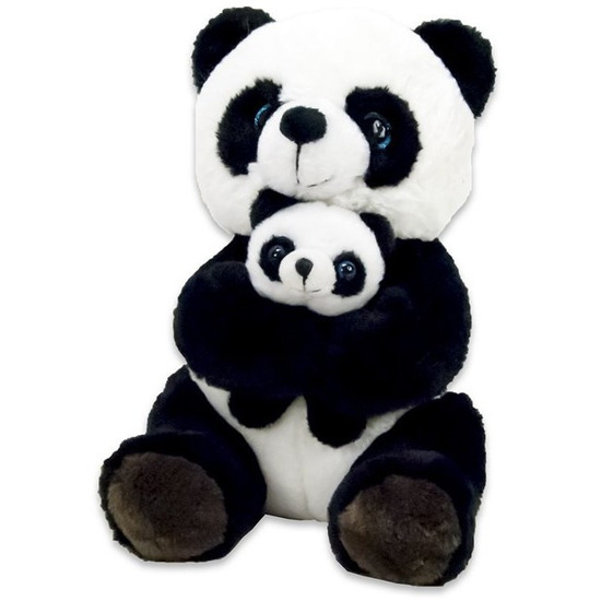 Zwart/witte panda beren knuffels 20 cm met baby knuffeldieren