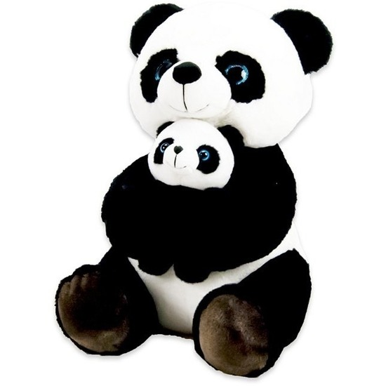 Zwart/witte panda beren knuffels 32 cm met baby knuffeldieren