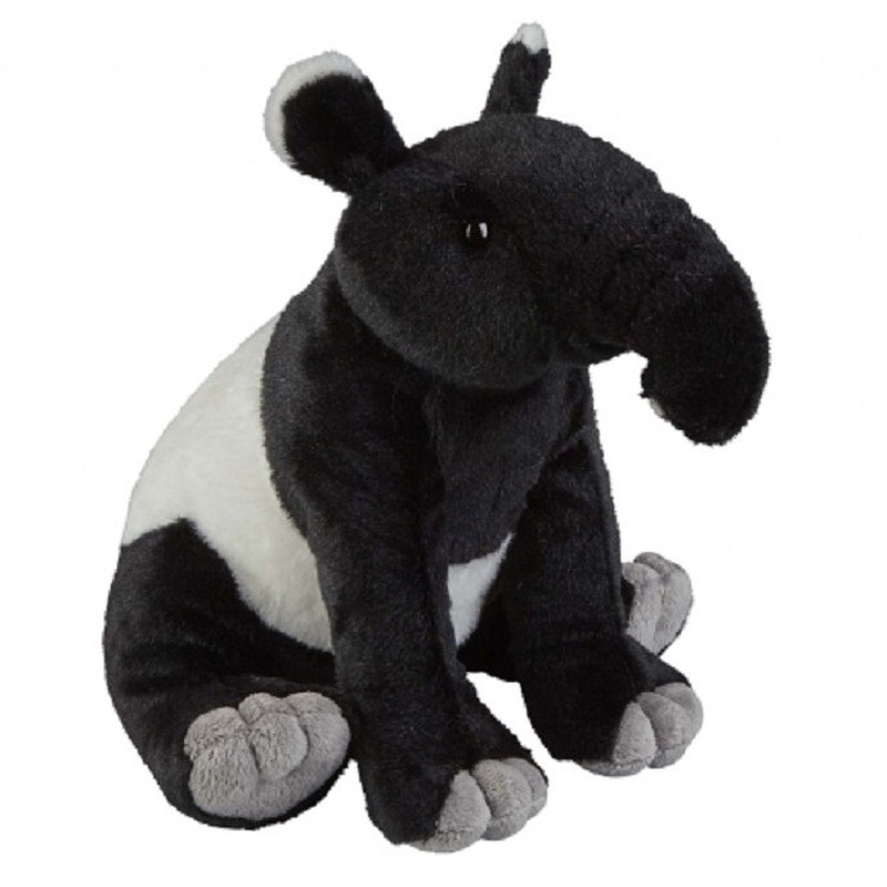 Zwart/witte tapir knuffel 30 cm knuffeldieren