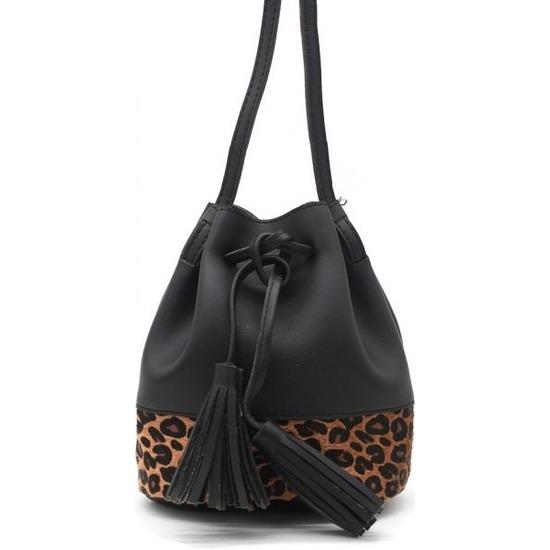 Zwarte-bruine luipaardprint schoudertas-cross body tas-bucket bag 30 cm Nel Tijgervel