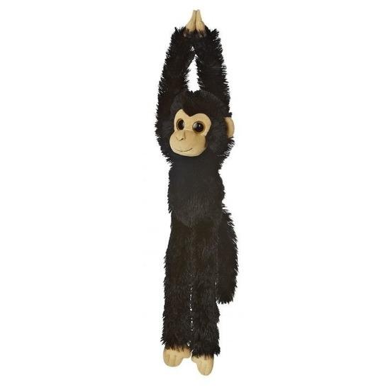 Zwarte hangende chimpansee aap/apen knuffel 49 cm knuffeldieren