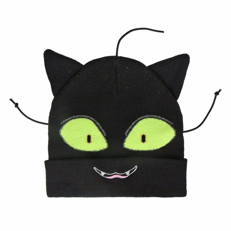 Zwarte kat/poes muts met ogen en oren voor jongens
