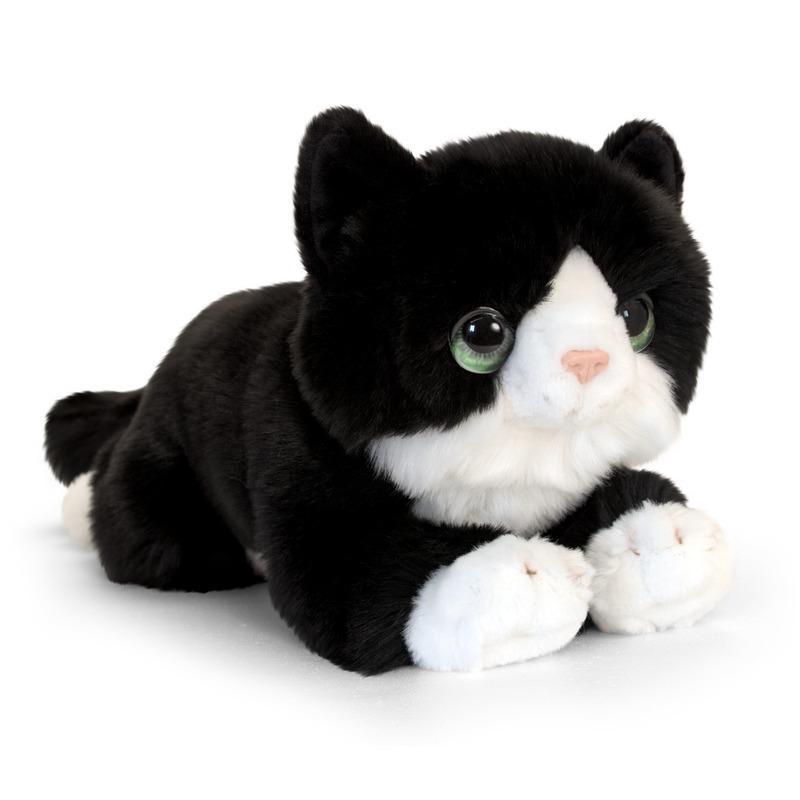 Zwarte kitten knuffelkat 25 cm