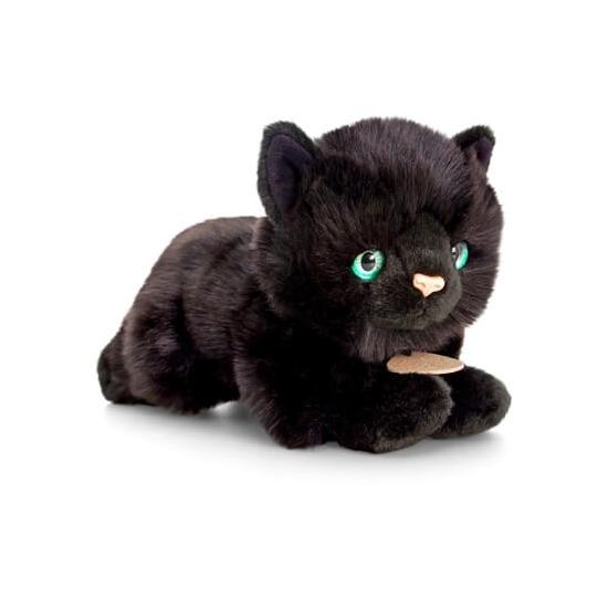 Zwarte liggende katten/poezen knuffel 30cm