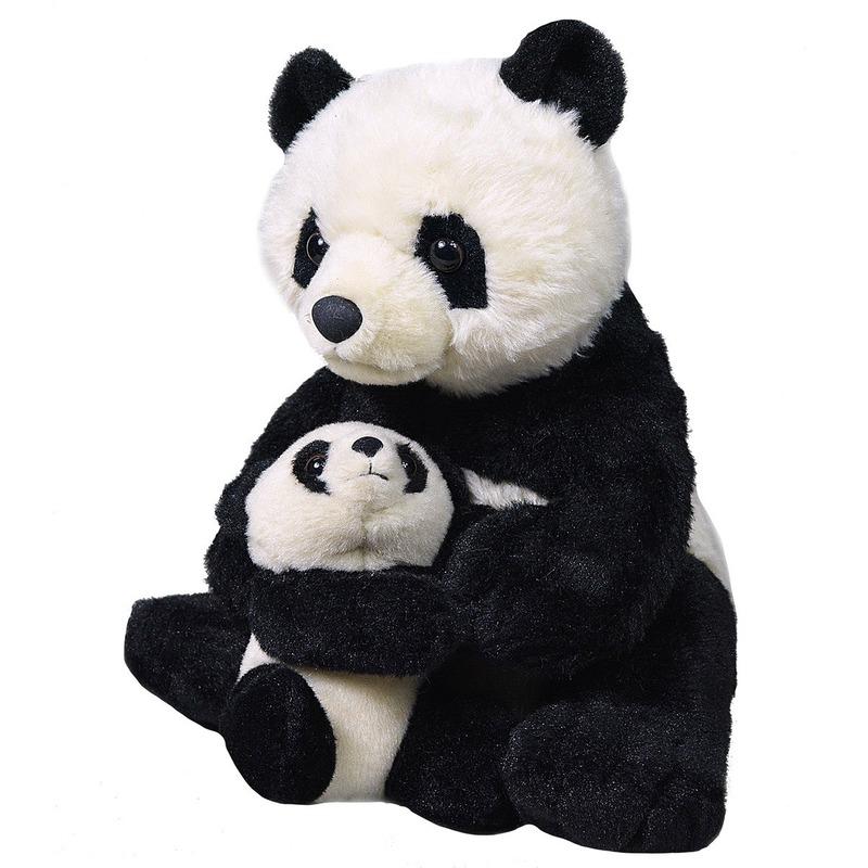 Afbeelding Zwarte panda's knuffels 38 cm knuffeldieren door Animals Giftshop