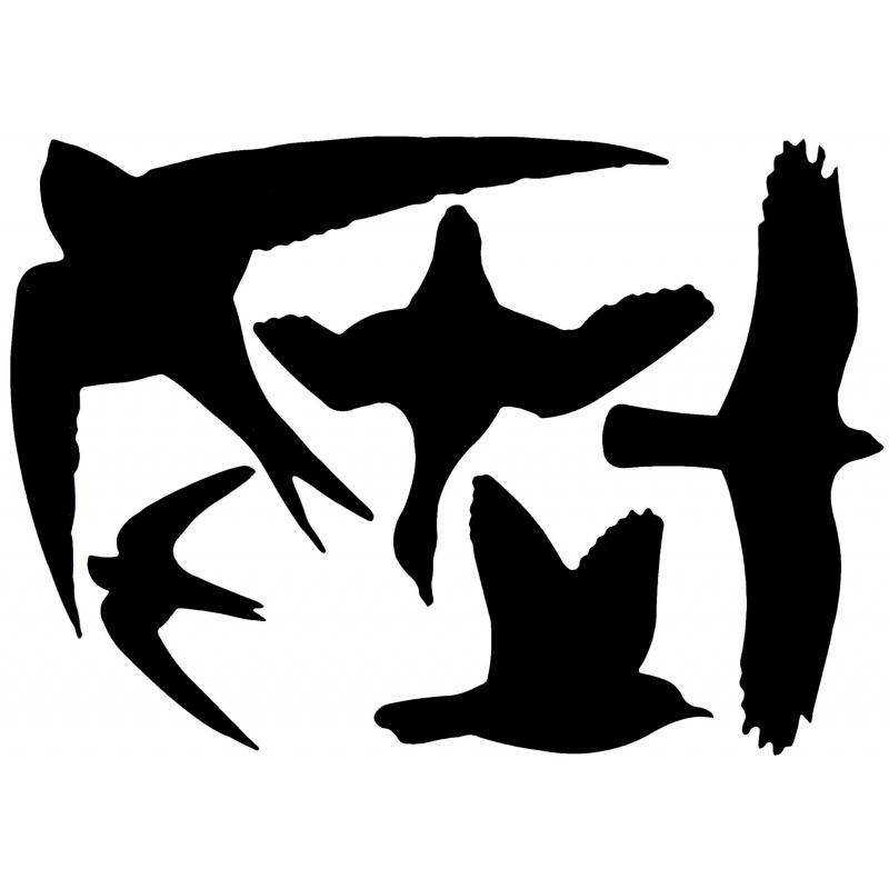 Zwarte raamstickers met vogels 33 x 23 cm