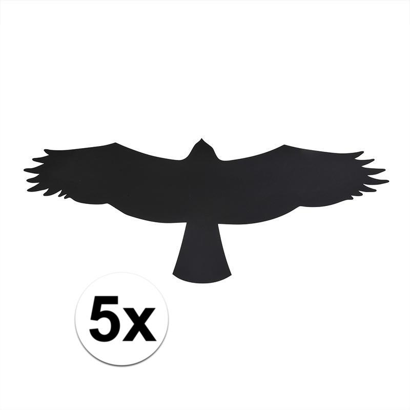 Zwarte raamstickers met vogels buizerd 5 stuks