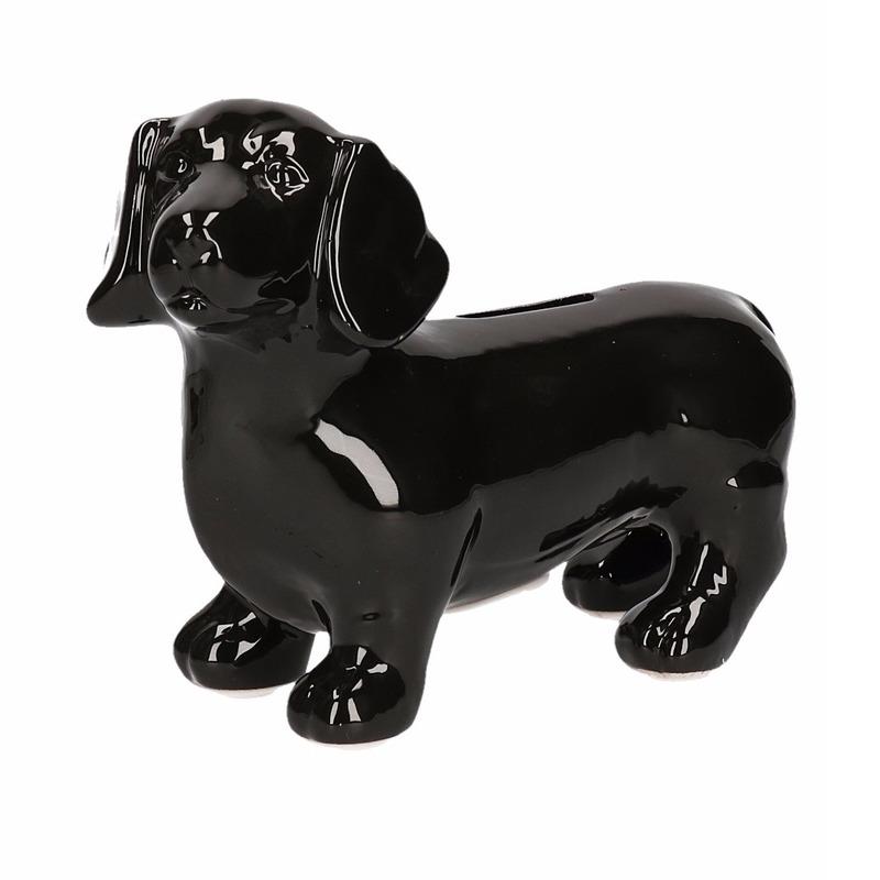 Zwarte teckel hond spaarpotten 20 cm