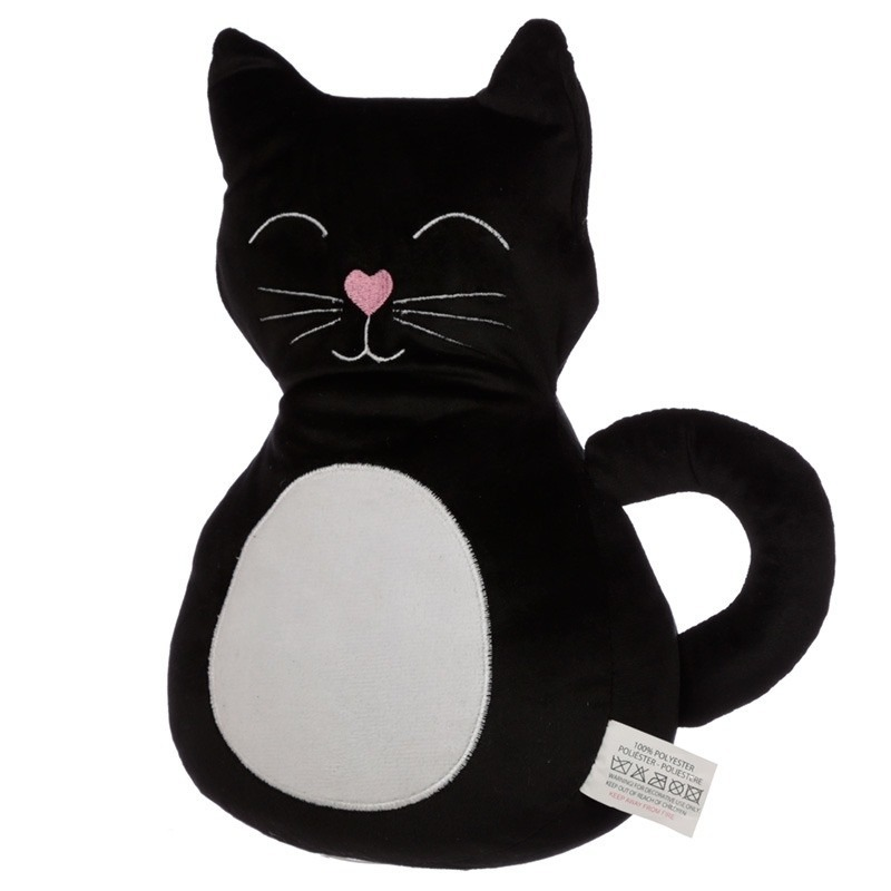 Zwarte zwarte kat/poes deurstopper/deurwig 25 cm