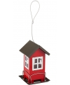Metalen vogel voederhuis rood 19cm