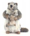 Realistische marmot met kindje knuffel 35 cm