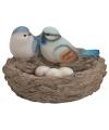 Decoratie nest met vogels en eieren blauw
