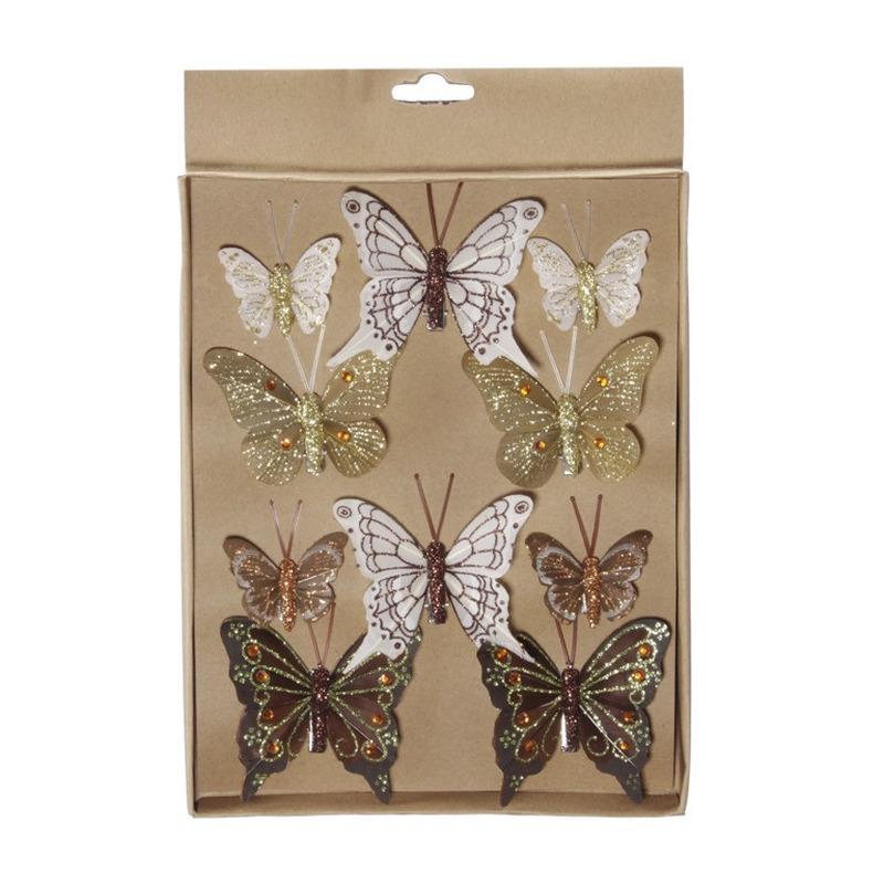 10x Kerstversiering vlinders op clip bruin/goud