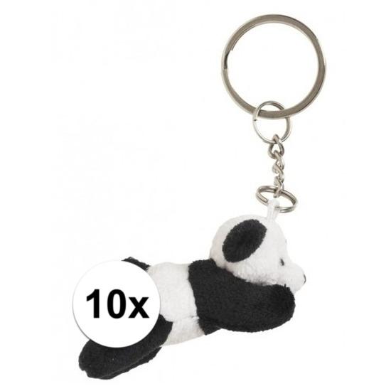 10x Pandabeer knuffel sleutelhangers 6 cm