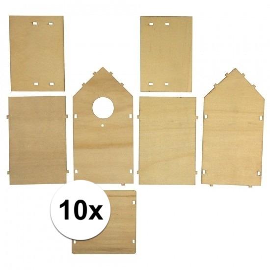 10x stuks Doe-het-zelf vogelhuisjes