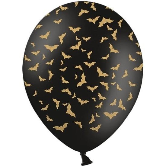 Afbeelding 12x Mat zwarte ballonnen met gouden vleermuis print 30 cm Halloween feest/party versiering door Animals Giftshop