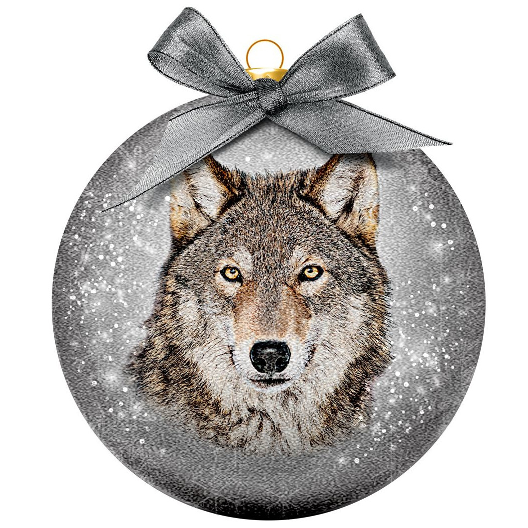Afbeelding 1x Dieren kerstballen met wolven 8 cm door Animals Giftshop