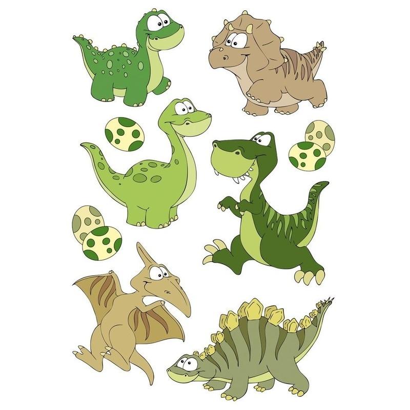1x Dinosaurus met wiebeloogjes stickervel met 9 stickers