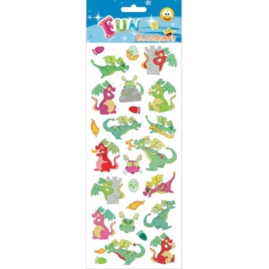 1x Draakjes stickervel met 24 stickers
