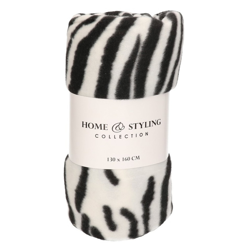 1x Fleece dekens/plaids zebra print 130 x 160 cm