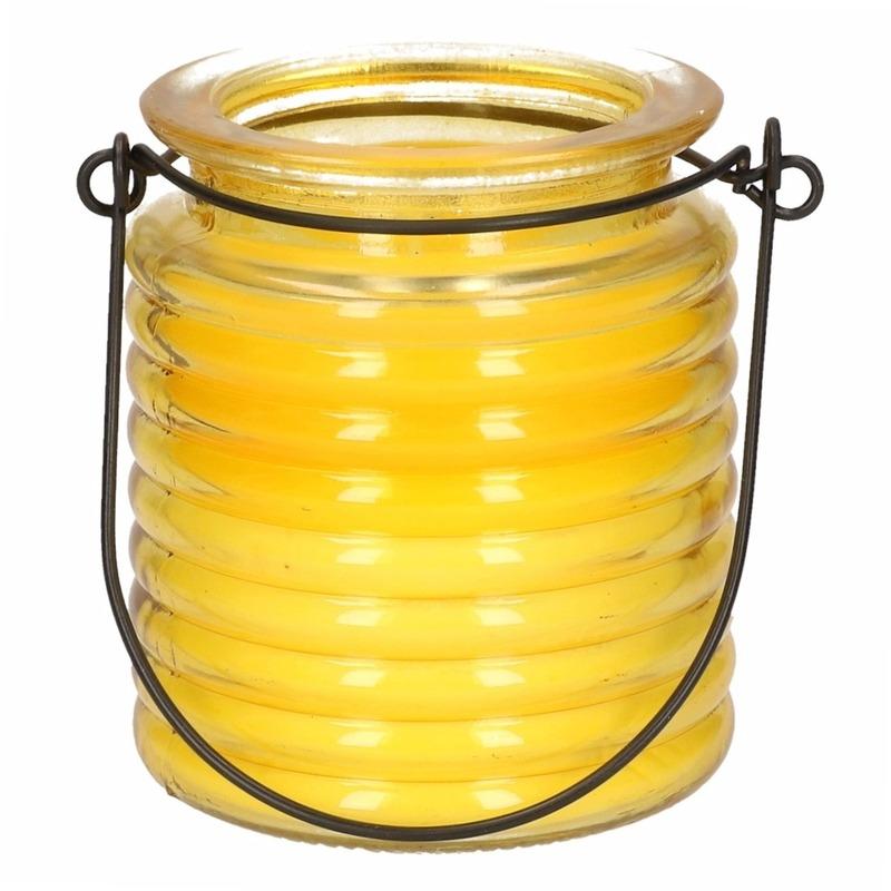 1x Geurkaarsen citroen anti muggen in geel glas