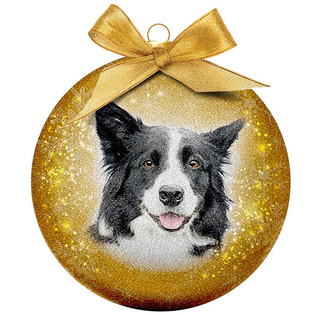 1x Huisdieren kerstballen met Border Collies 8 cm