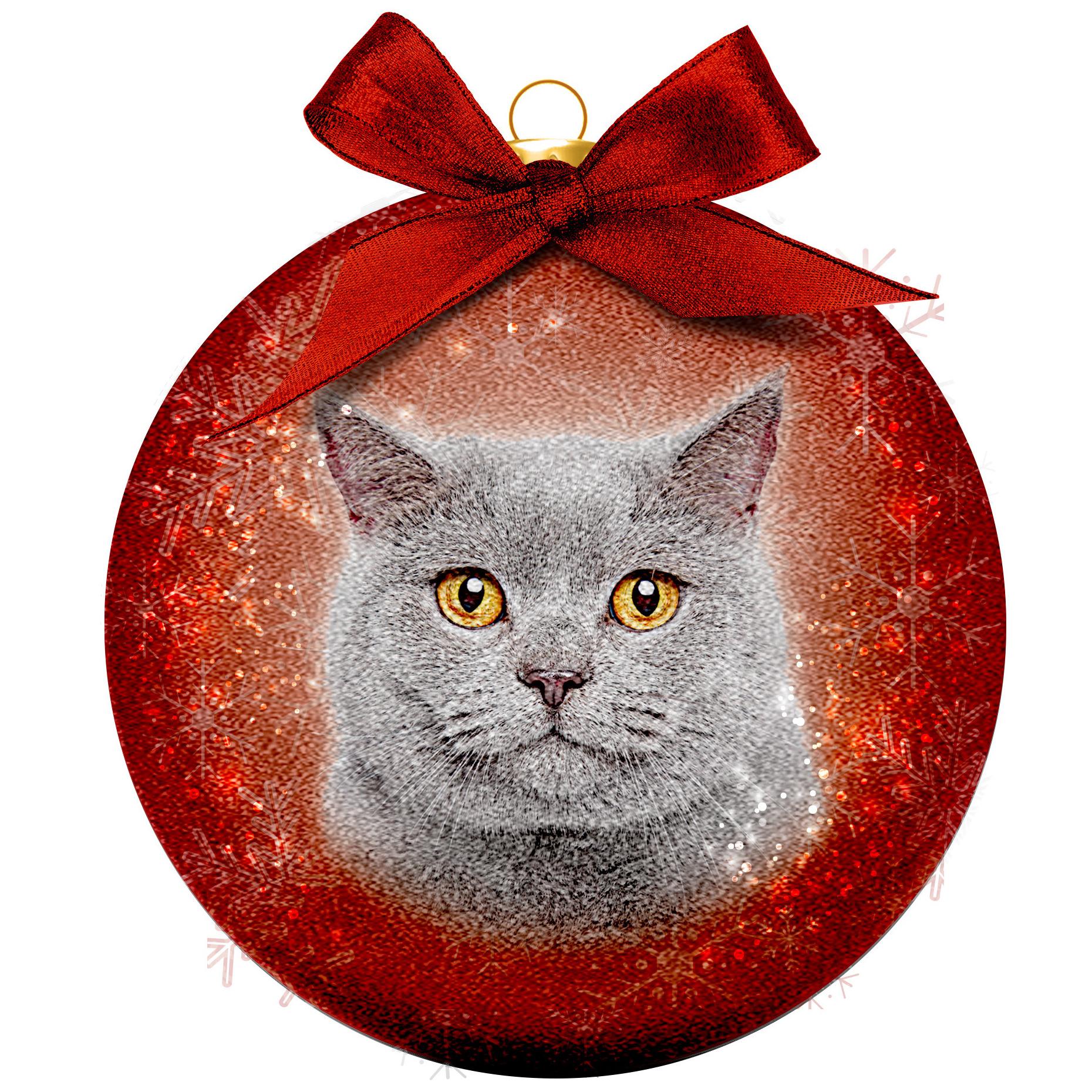 1x Huisdieren kerstballen met grijze katten/poezen 8 cm
