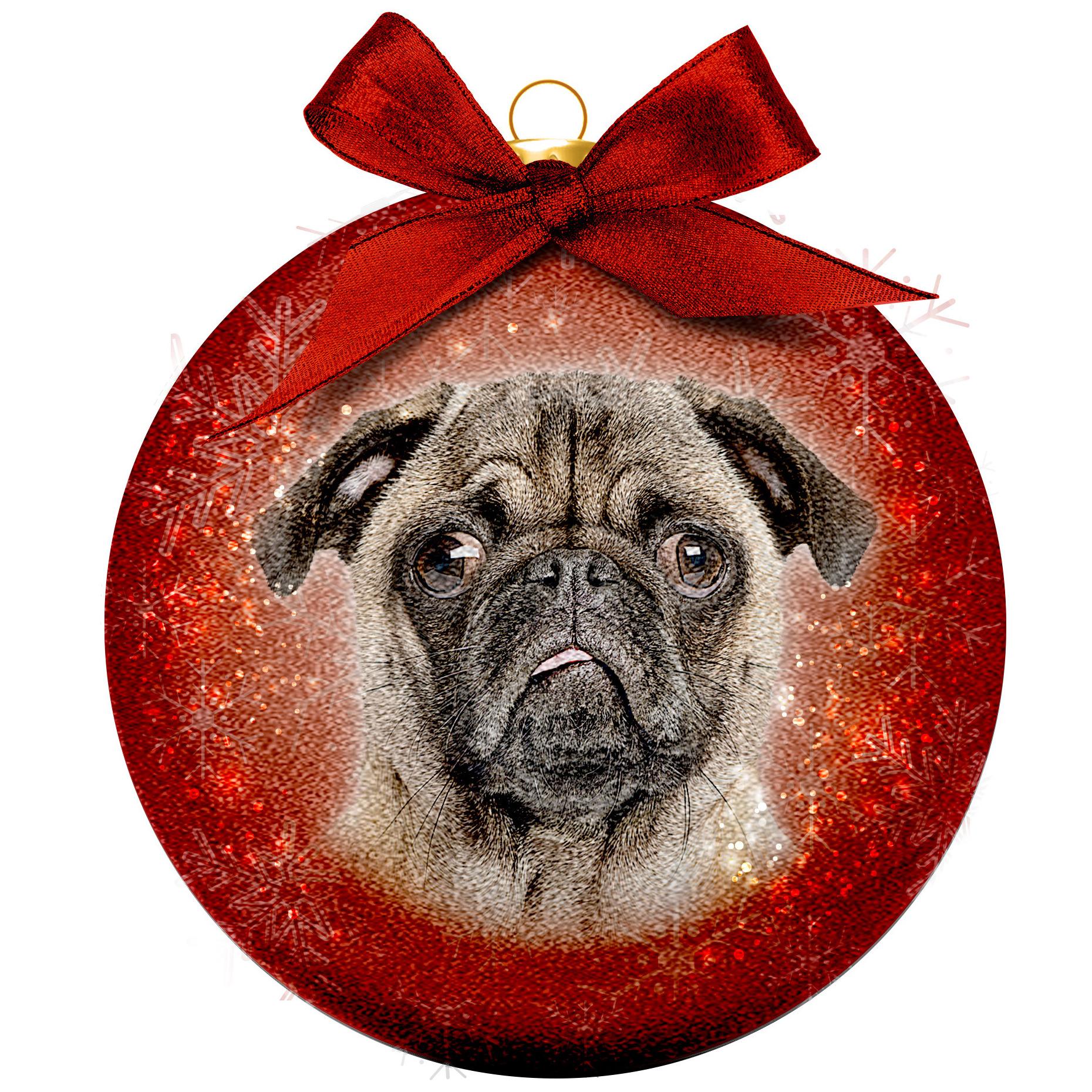1x Huisdieren kerstballen met Mopshonden 8 cm