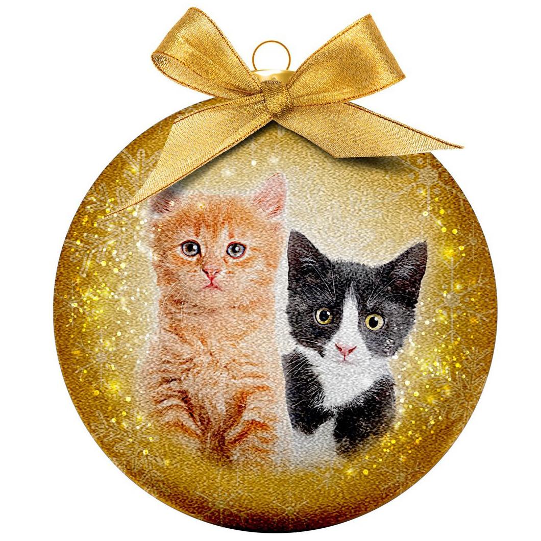 1x Huisdieren kerstballen met poesjes/katjes 8 cm