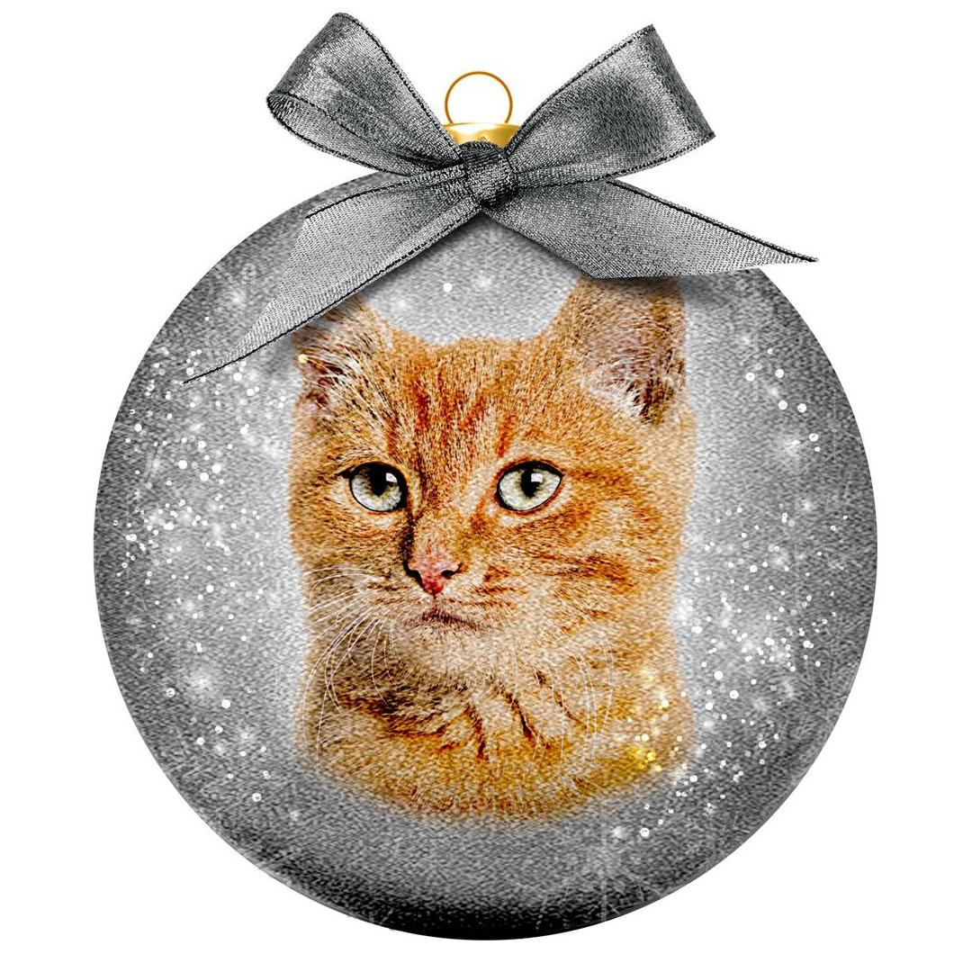 1x Huisdieren kerstballen met rode katers/katten/poezen 8 cm