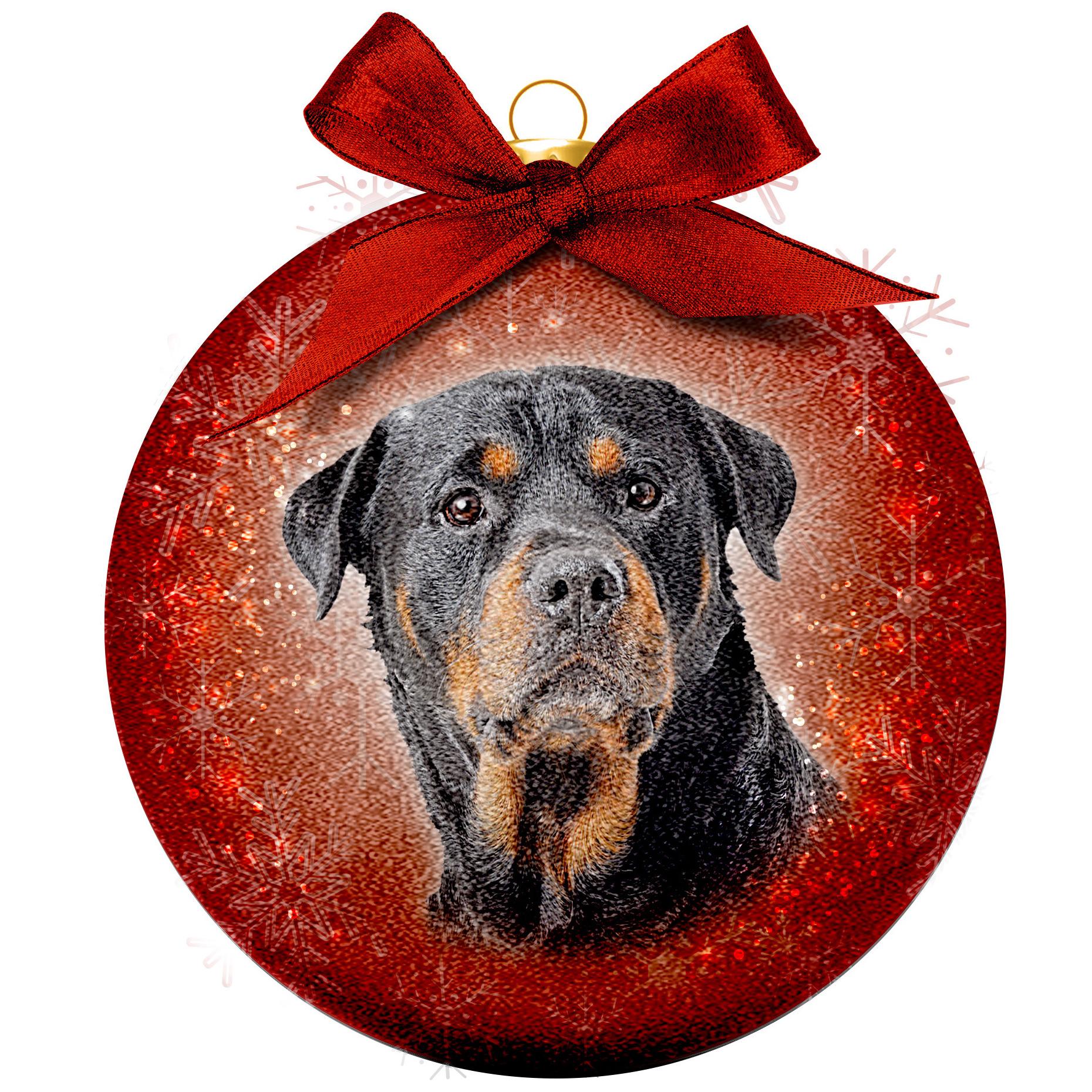 1x Huisdieren kerstballen met Rottweilers honden 8 cm