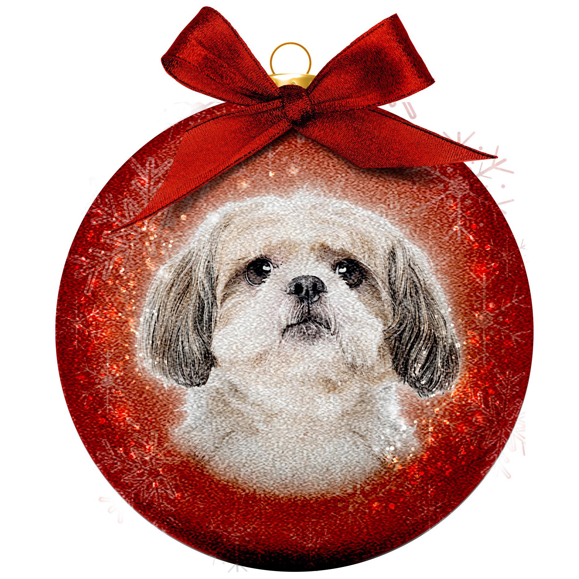1x Huisdieren kerstballen met Shih Tzu hondje 8 cm