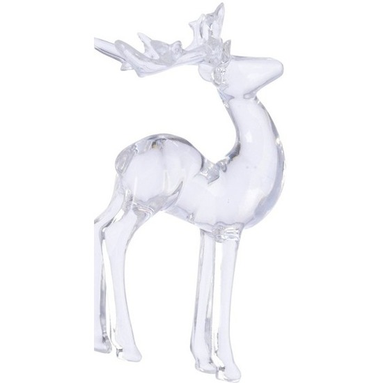 1x Kerst hangdecoratie doorzichtig staand hertje 13 cm